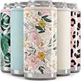 Maars Skinny Can Cooler for Slim Beer & Hard Seltzer | Stainless Steel 12oz Koozy Sleeve, Double Wall Vacuum Insulated Drink Holder - Blush Floral