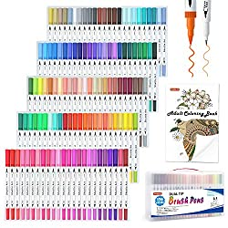professional Two-sided brush, 120 colors, one coloring book, artistic marker with thin shuttle art eyeliner and brush …
