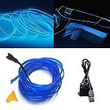 Luces de alambre de neón con adaptador USB para luces interiores de coche (azul, 3 m/9 pies)
