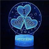 Día de San Valentín I Love You Lámpara de mesa pequeña de acrílico con base agrietada hermosa USB multicolor 3D