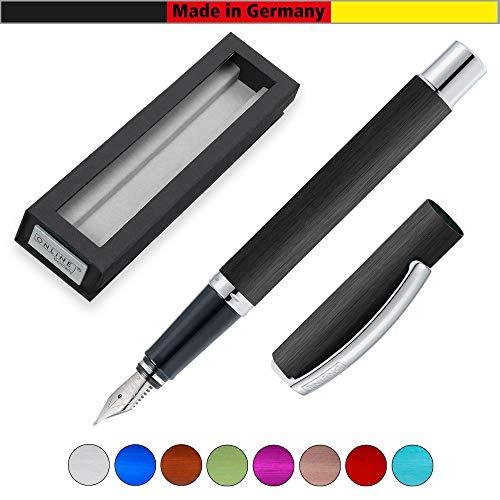 ONLINE Füller Vision Black, Füllfederhalter mit klarem Design, matt gebürstetes Aluminium, Iridium-Feder M, für Standard-Tintenpatronen und Konverter geeignet, Geschenkverpackung | Farbe: schwarz