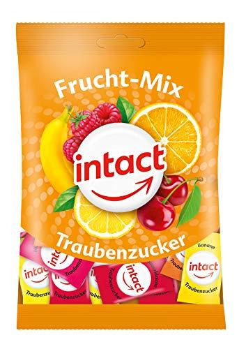 intact Frucht-Mix Traubenzucker Beutel - 2x 100g, zartschmelzende Bonbons, einzeln verpackt, bekannt aus Ihrer Apotheke, für Diabetiker, Sport und Schule