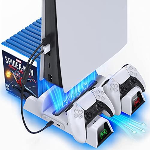 OIVO Soporte Vertical con Ventilador de Refrigeración para Playstation 5, Soporte PS5 con Cargador Mando PS5 y Ranuras de 12 Juegos para Playstation 5 Console