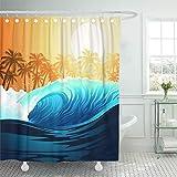 remmber me Blaue Brandung Tropical Surfing Wave bei Sonnenaufgang mit Palmen Navy Beach Hawaii Duschvorhang wasserdicht Badezimmer Dekor Polyester Stoff Vorhang Sets mit Haken 60 x 72 Zoll