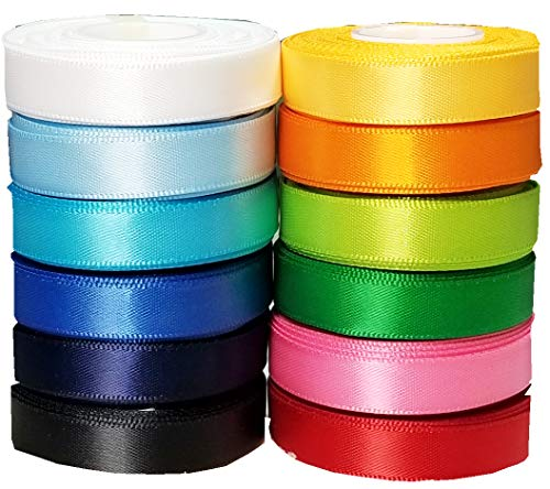 60 Yards (12x5yd) 3/8' Solid Popular Colors Satin Ribbon for Hair Bows, Dance, Floral Designs, Gift Wrapping, Sewing.