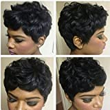 Avise 4' Brazilian Hair Short Curly Wigs for Black Wome Human Hair Short Curly Wigs Short Pixie Wigs for Women