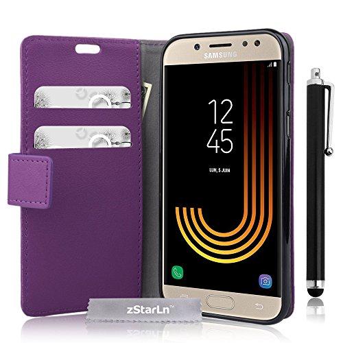 zStarLn viola luxury Portafoglio Protettiva Custodia in pelle per Samsung Galaxy J7 2017 Cover Caso PU custodia + 3 pellicola protettiva e Stylus pen
