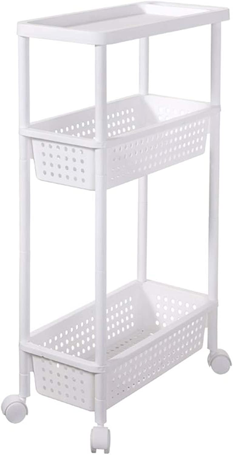 White Removable Storage Cart Kitchen Bedroom Storage Rack Bathroom Rack with Wheel Cart Rack (color   1)