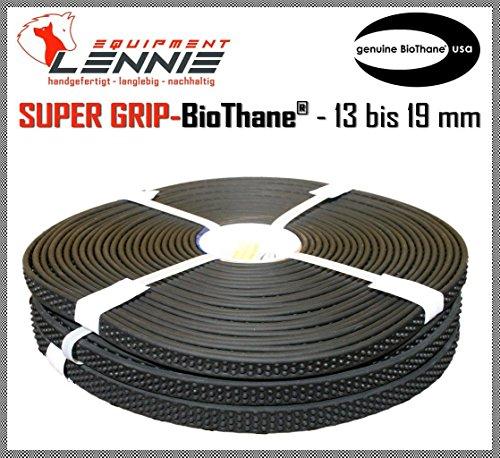 BioThane® Meterware, Grippy Super Grip, 13-19 mm breit, ca. 6,4 mm dick, mit Noppen, 16mm Schwarz