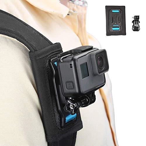 TELESIN Rucksack Schultergurt Halterung mit Klettverschluss Verstellbares Schulterpolster und J-Haken Mount für GoPro Hero/Session, Polaroid, Xiaomi YI, SJCAM Insta 360