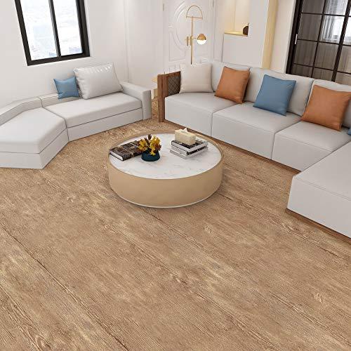 PVC-Bodenbelag Bodenschutz Belag ca.3㎡/Rolle Holz Folie selbstklebend Holzoptik Klebefolie verdicke Aufkleber Stärke 0,35mm für Boden Wand Möbel (Holz-Braun)