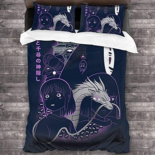 Spirited Away Art Studio Ghibli - Juego de ropa de cama (220 x 240 cm + 50 x 75 cm x 2,A04)