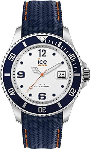 ICE-WATCH Ice Steel White Blue - Reloj Azul para Hombre con Correa de Silicona, 016771 (Medium)