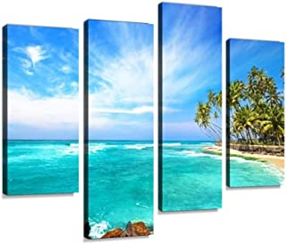 IGOONE 4 Panels Canvas Paintings - Untouched Tropical Beach in Sri Lanka - Wall Art Modern Posters Framed Ready to Hang for Home Wall Decor