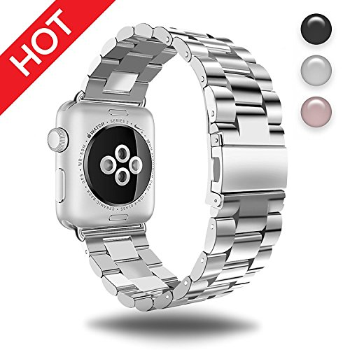 Watch Band Silver 38MM/40MM Stainless Steel Strap Wristband for Apple Watch Series4/3/2/1 All Version Comfortable Durable Folding Metal Clasp Classic Buckle Wrist Watch Strap,Updated Version