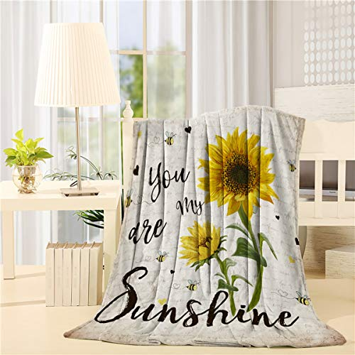 Sunflower Bee Flannel Fleece Throw Blanket You are My Sunshine Vintage Letter Lightweight Bed Blankets for Sofa Couch or Travel,All Season Use,49x59 inch