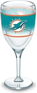 Tervis 1292830 NFL Miami Dolphins Original Wine Glass, 9 oz, Clear