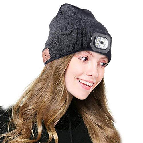 BestFire Gorra inalámbrica Bluetooth con LED Faro USB Recargable Gorra Musical Unisex para Correr Esquiar Senderismo Camping Ciclismo/Responder Llamadas/Escuchar música