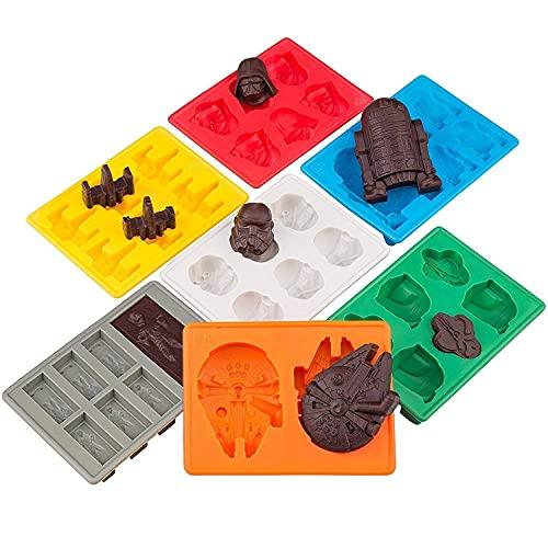 Stampi in silicone per vaschette del ghiaccio a forma di Star Wars,ideali per cubetti di cioccolato,dessert e candele:Stormtrooper,Darth Vader,X-Wing Fighter,Millennium Falcon,R2-D2,e altro(Set di7)