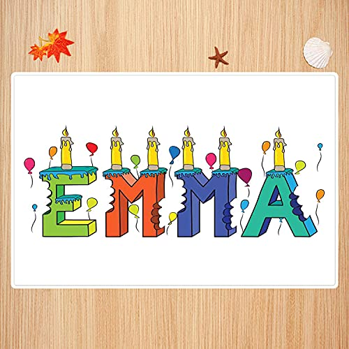 Bathroom non-slip mat 50 x 80 cm,Emma,Popular Female First Name Design with Many Colors Candles and Balloons Birthday Theme,Multicol Super soft and absorbent bath carpet for bathroom