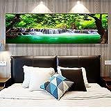 Natura Verde Cascata Lago Immagine su tela Wall Art Poster e stampe Paesaggio Pittura murale per la decorazione del soggiorno 30x120 CM (sans cadre)