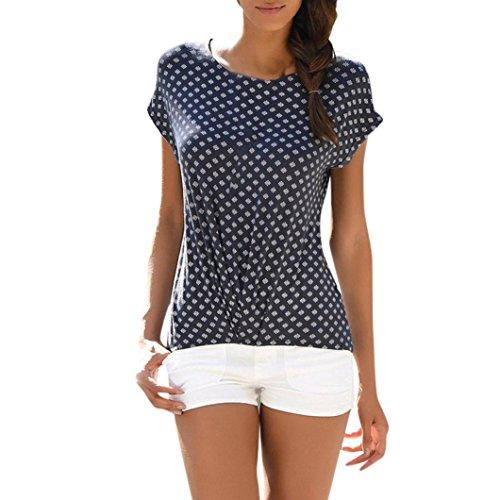 MRULIC Sommer Strand T-Shirt für Frauen und Mädchen Lose Sternchen Casual T-Shirt und Tops(J-Navy,EU-40/CN-L)