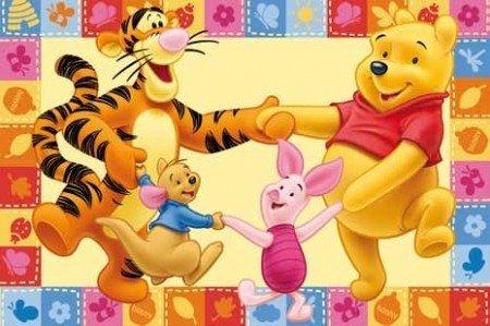 #tapis pour enfant motif disney Winnie l'ourson et ses amis danse 170 x 100 cm