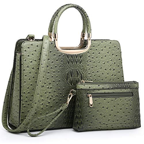 """MATERIALS: Vegan (PU) Ostritch textured leather with gold-tone hardware POCKETS: 1 internal zipper pocket, 2 internal slip pockets, 1 center zipper pocket, multi pockets to keep your daily essentials conveniently in check SIZES: 14.5""""W x 11""""H x 4""""D, ..."""