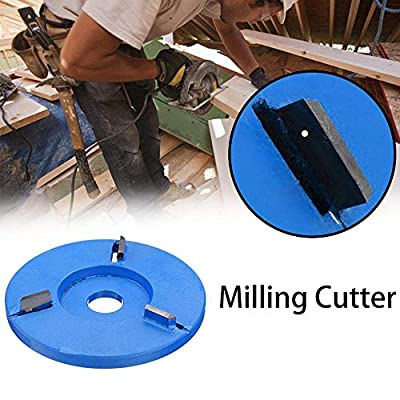 MOGOI 90mm Diameter 16mm Bore Blue Power Wood Carving Disc Angle Grinder Attachment, Three Teeth Woodworking Turbo Tea Tray Digging Wood Carving Disc Tool Milling Cutter