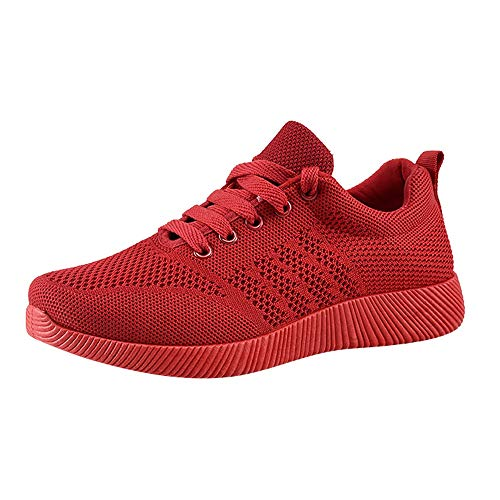 Men Women Lightweight Walking Shoes Ladies Lace Up Sneakers Mesh Go Running Trainers Low Top Breathable Athletic Walk Gym Shoes Sport Run Red