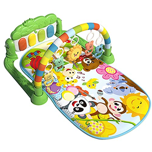 Colchoneta De Fitness Para Bebés, Baby Fitness Mat, Alfombrilla De Juego Bebés, Piano De Pie Colgante Música Ligera, Manta Juego Para Bebés, Adecuados Bebés De 3-6-12 Meses Con 12 Canciones De Cuna