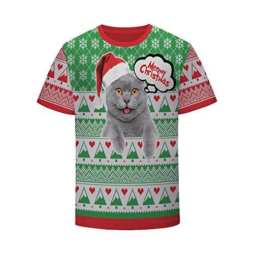 Camiseta,Gorro Navideño Gato Animal Juego Hombres Personalidad Unisex Moda Primavera Y Verano Top Cómodo 3D Manga Corta Top Color Mixing XXL