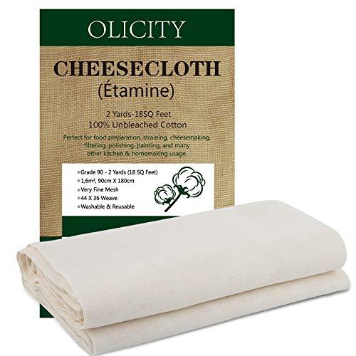 Colperun Passiertuch, 90 Grad, 1,6m², 90cm X 180cm, Gaze Stoff 100% Ungebleicht Musselin Küche Wiederverwendbar Käsetuch Fein Baumwolle Passiertücher für Käse, Nut Milk, Saft, Marmelade