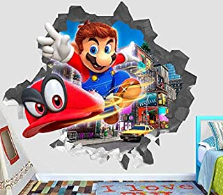 """Mario Odyssey Action Wall Decal Decor Sticker Kids Vinyl Decal 3D - Wall Sticker - Custom Your Photo - ORP000389 (Large 38"""" W x 34"""" H Inches)"""