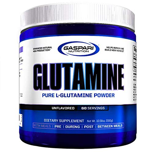 Gaspari Nutrition Glutamine Pure Powder Package of 1 x 300g – Pure L-Glutamine Powder – 60 Servings – Unflavored – Dietary Supplement – Repair and Build New Muscle