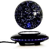 Whinop 6 Pulgadas Magnetic Levitation Globe con Luces Color LED,Negro Levitacion Magnetica Flotante para La Enseñanza de Demostración de Conocimientos Geofísicos