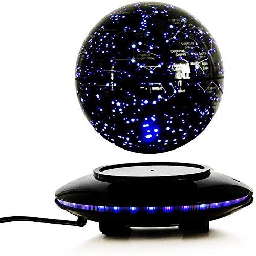 WXXW 6 Pulgadas Bola del Mundo Magnetica con Luces Color LED,Negro Iman Levitacion para Decoración de Escritorio, Regalos para Niños