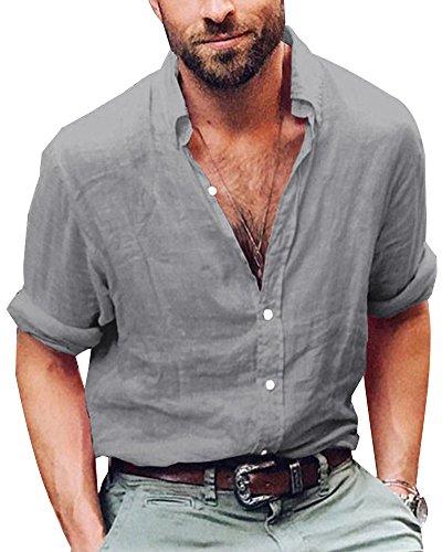 ShallGood Camicie da Uomo Allentata Comode E Traspiranti Lino Maniche Lunghe Stile Slim Estivo Slim Grandad Collar Spiaggia Camicie Shirts Grigio Medium