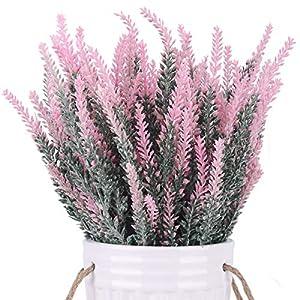 BOMAROLAN Artificial Lavender Plant Fake Flowers Wedding Bouquet Home Kitchen Office Table Centerpieces Arrangements Decor 6pcs (Purple)