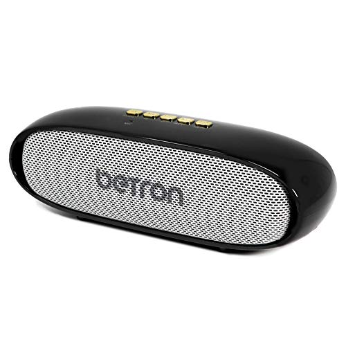 Betron KRT50 Bluetooth Wireless Speaker, Stereo Sound, Rich Bass, USB and Micro SD Slot, Compatible with iPhone, Samsung, Tablets, Laptops and More, Black and Silver