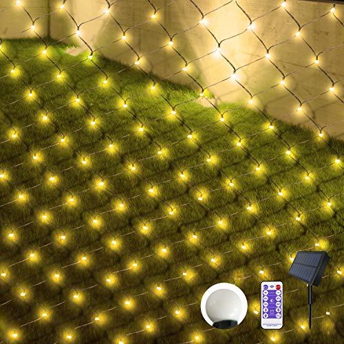 Solar LED Lichternetz 3M x 1.5M Mini Kugel Lichterkette Netzlicht Wasserdichte Mesh Lichterkette mit Fernbedienung & Timer 8 Modi für Weihnachten Party Garten Außen Dekorationen, Warmweiß
