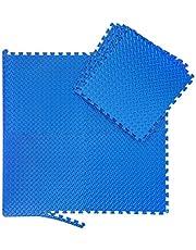 Relaxdays Unisex – vuxen golvmatta set, 24 smutsmattor för fitness och träningsutrustning, Eva, BPA-fri, yta 2,1 m², B x D 30 x 30 cm, blå