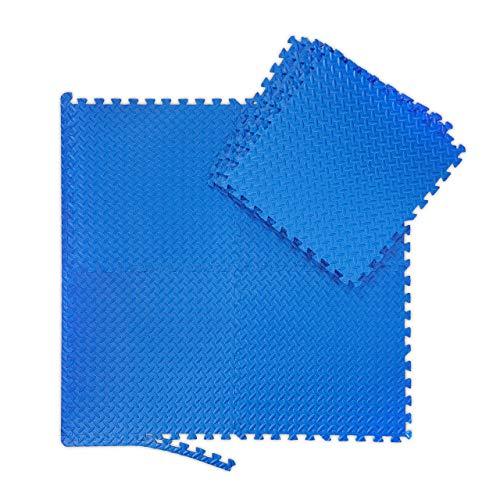 Relaxdays Unisex - Volwassenen vloermat, set met 24 vuilmatten voor fitness & fitnessapparaten, Eva, BPA-vrij, oppervlak 2,1 m2, BxD 30 x 30 cm, blauw