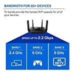 Linksys tri-band wifi router for home (max-stream ac2200 mu-mimo fast wireless router), black 19 provides up to 1,500 square feet of wi-fi coverage for 15+ wireless devices works with existing modem, simple setup through linksys app enjoy 4k hd streaming, gaming and more in high quality without buffering