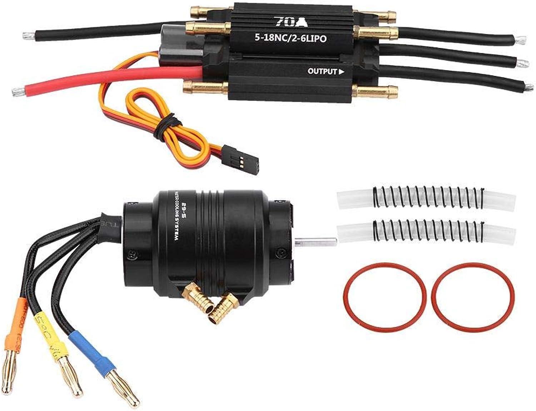 Dilwe RC Motor und ESC, 2958 3380KV Sensorless Motor w  29S Wasserkühlungsjacke & 70A Brushless Regler für RC Stiefel RC Modell Teile Zubehr