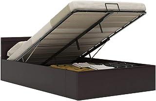 vidaXL Hydrauliczne łóżko tapicerowane LED, łóżko podwójne, do sypialni, ze sztucznej skóry, rama łóżka, stelaż listewkow...