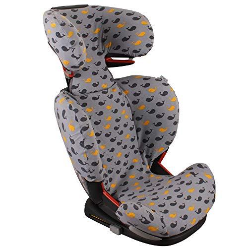 Maxi-Cosi RodiFix, RodiFix AirProtect und FeroFix Bezug Kindersitz von UKJE Grau Wale Schweißabsorbierend und weich für Ihr Kind Öko-Tex 100 Baumwolle Recycelbar