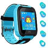 bhdlovely Smartwatch Kinder Telefon Uhr für Kinder mit SOS Voice Chat Kinderuhr Cadeau Junge Mädchen 3-12ans (Blue)