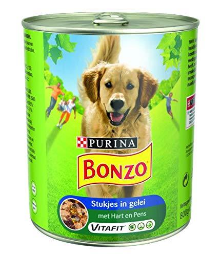 800 GR Bonzo blik stukjes in gelei hart/pens hondenvoer