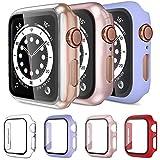 Mocodi 4 Pezzi Apple Watch Cover 38mm Series 3/2/1 con protezione per schermo in vetro temperato, paraurti antiurto per PC ultra sottile e resistente ai graffi per uomo donna Accessori iWatch